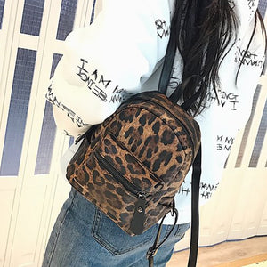 Fashion Leopard Print Small Backpacks Women PU Leather Backpack Kids Fashion Back Pack Travel Chain Plush Bags Winter Bag Sac - thefashionique
