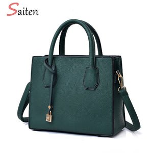Fashion Litchi Pattern Leather Handbags Women Tassel Casual Tote Bags Lock Pendant Vintage Women Handbags Ladies Crossbody Bags - thefashionique
