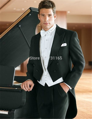 Fashion Long Blazer Black Groom Tailcoat Groomsman Men's Wedding Suit  mens suits wedding groom homens blazer - thefashionique