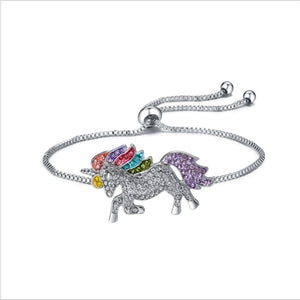 Fashion Lucky Cute Colorful Unicorn Adjustable Diamond Bracelet for Girls Lucky Silver Plated Bracelet  Perfect Women Girl Gifts
