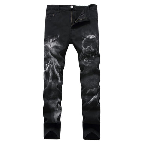 Fashion Men Jeans Autumn And Winter Men's Printed Black Stretch Jeans Headwear Casual Slim Large 3D Patterned Trousers