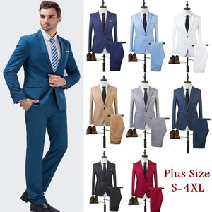 Fashion Men One Button Suits Business Suit A Two-piece Suit The Groom Best Man Wedding Suit 8 Colors - thefashionique