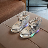 Fashion New Children shoes with light glowing sneakers boys little girls shoes wings canvas flats spring kids light up shoes - thefashionique