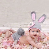 Fashion Newborn Baby Photo Props Outfit Costume Rabbit Knit Hat Pant Set Infant Photo Shoot Accessory cap Knit Newborn Outfits - thefashionique