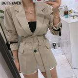 Fashion Patchwork Women Blazer Coat Lace Up Contrast Color Female Suit