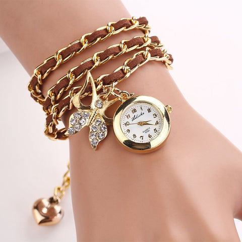 Fashion Pu Leather Mix Chain Strap womens watches Fashion women charm wristwatch vintage bracelet Rhinestone butterfly Clocks