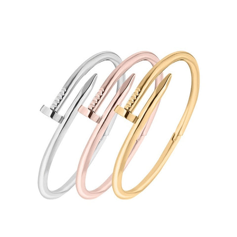 Fashion Screw Nail Cuff Bracelets Bangles Female Stainless Steel Carter Loves Bracelet for Women Jewelry Pulseras Femininas - thefashionique