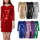 Fashion Sequined Women Dress  Vestidos Mujer 8 Colors O-neck Sukienka Glitter Spring/Autumn Full Sleeve  Sexy Dress - thefashionique