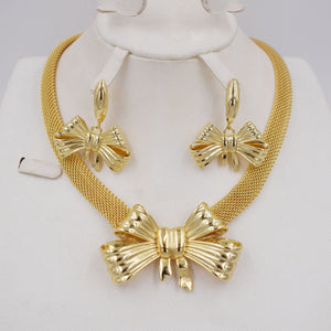 Fashion Set New Arrival for Women Gifts Elegant Gold Color Plated Bridal Imitation Jewelry Sets  wedding chain set