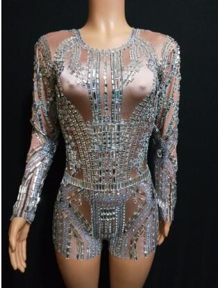 Fashion Sparkly Glass Rhinestones Dress Evening Party Wear Long Sleeves Prom Nude Gray Dress Birthday Celebrate Diamons Dresses