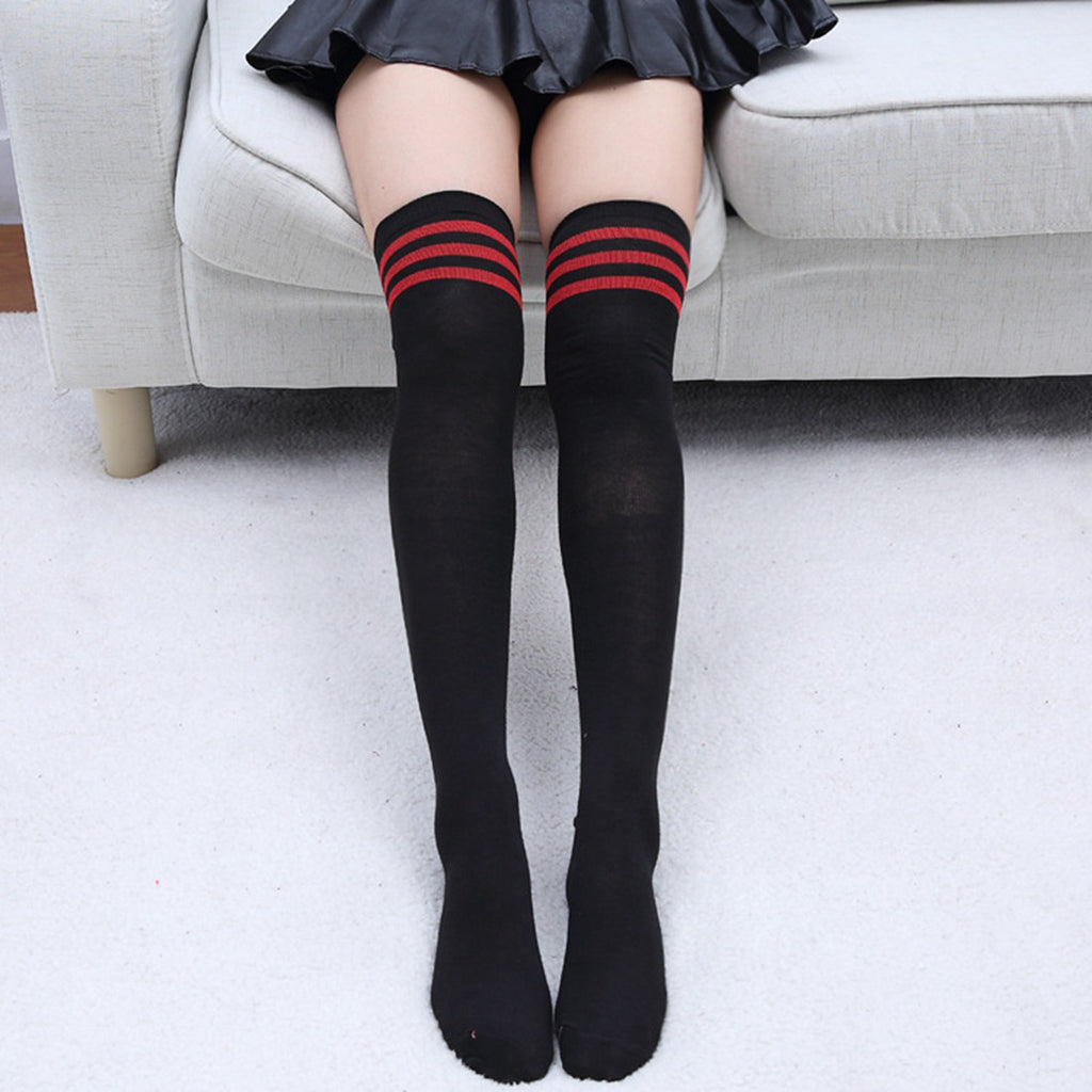 9cc1a54e5 Fashion Striped Knee Socks Women Cotton Stockings Thigh High Over Knee