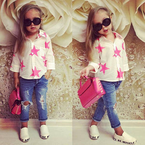 Fashion Style for girls of Chiffon long sleeves Tops with Stars Printed  + jeans pants in autumn sets children's clothes ST316 - thefashionique