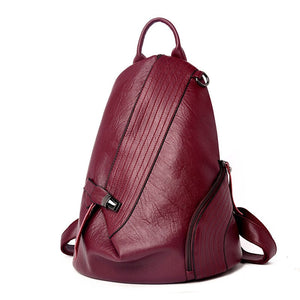 Fashion Vintage Soft Leather Backpack Female Antitheft Soild Women Backpack Large Capacity Ladies Shoulder Travel Bag Mochila - thefashionique