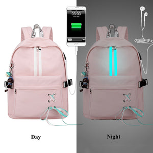 Fashion Waterproof Anti Theft Reflective Women Backpack Earphone Hole Drawstring Bow Design Girls College Laptop Bookbags - thefashionique
