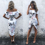 Fashion Women BOHO Long Dresses Evening Party Dresses Prom Floral Summer Beach Maxi Dress Ruffles Split Dress - thefashionique
