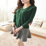 Fashion Women Cardigan V-neck Knit Knitwear Casual Crochet Outwear Long Sleeve Pearl Buckle Slim Coat Autumn - thefashionique