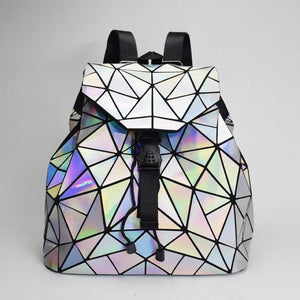Fashion Women Drawstring Backpacks Laser Lattice Geometry Backpack Bag School Back Pack Ladies Backpack For Teenage Girl Bagpack - thefashionique