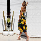 Fashion Women Elegant Beach Summer Dress Casual Print Pockets Dress Sexy Party Backless Boho Female Dresses Robe Femme Vestidos - thefashionique