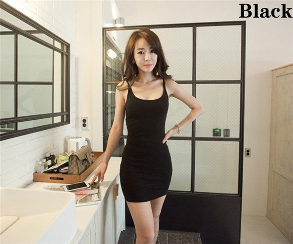 Fashion Women Sexy Backless Basic Dresses Sleeveless Slim Vestidos Vest Tanks Bodycon Dress Strap Solid Party Dress - thefashionique
