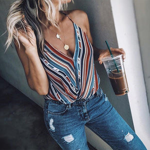 Fashion Women Summer Top Sleeveless Tee Vest Casual Loose colours rainbow Striped Blouse shirt Female harajuku blusa feminina - thefashionique