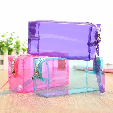 Fashion Women Transparent PU Pencil Cosmetic Bag Storage Simple Zipper Makeup Tools Accessories Large Capacity Beauty Simple