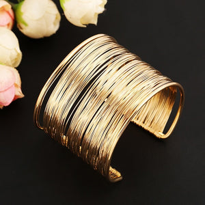 Fashion Women's Multilayer Metal Wires Strings Open Bangle Wide Cuff Bracelet - thefashionique