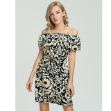 Fashion Women's Off Shouder Ruffles Floral Printed Casual Mini With Belt Dress - thefashionique