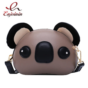Fashion and Cute Koala Design Pu Leather Female Purses and Handbags Shoulder Bag Crossbody Mini Bag Women Clutch Bag Pouch - thefashionique