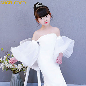 Fashion white halter girl child models catwalk Slim Mermaid evening dress