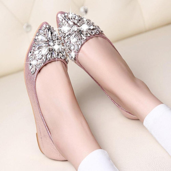 Fashion women Ballet shoes leisure spring pointy ballerina bling Rhinestone flats shoes  princess shiny Crystal wedding shoes - thefashionique