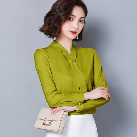 1ca02baf5 Fashion women blouses 2019 long sleeve solid plus size chiffon blouse shirt  bow V collar office
