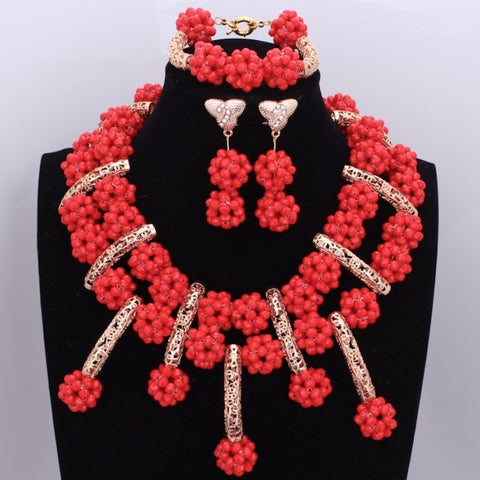 Fashionable Red African Wedding Balls Beads Jewelry Sets Nigerian Necklace Crystal Fashion Jewelry Sets & More New - thefashionique