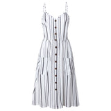 FeiTong Sexy v neck print summer dress Women sleeveless boho casual midi dress Female 2018 Stripe long dress vestidos Sunflower - thefashionique