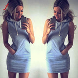 Feitong Women Casual Hoodies Dress 2018 Summer Ladies Sleeveless Sweatshirt Suits Tracksuit femme swear Dress - thefashionique