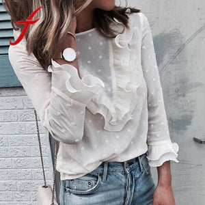 Feitong Women Ladies Blouses Elegant Casual Ruffles Lace Polka Dot O Neck Shirt Long Sleeve Tops Blouse blusa feminina 2018 New - thefashionique