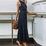 Female Beach Dresses 2018 Fashion Women Ladies Dress Dot Printing Round Neck Sleeveless Party Long Dress Casual Sundress Vestido - thefashionique