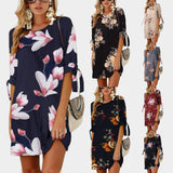 Female Floral Printed Mini Dress Plus Size Straight Casual Sundress 2018 Boho Women Summer Half Sleeve O-neck Boho Size S-5XL - thefashionique