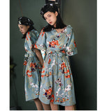 Female Summer Retro 50s60s Dress Personality Loose Pleated Fashion Print Short-sleeved V-neck Party Dress Womens Summer Tunics