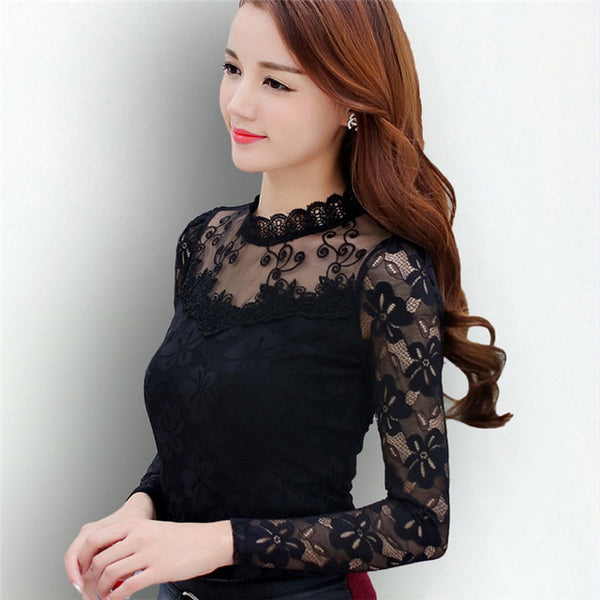 Femininas Blusas 2018 Women Blouses Spring Autumn Fashion Sexy Slim Shirt Tops Lace Long Sleeve O-Neck Leisure Black/White S-5XL - thefashionique