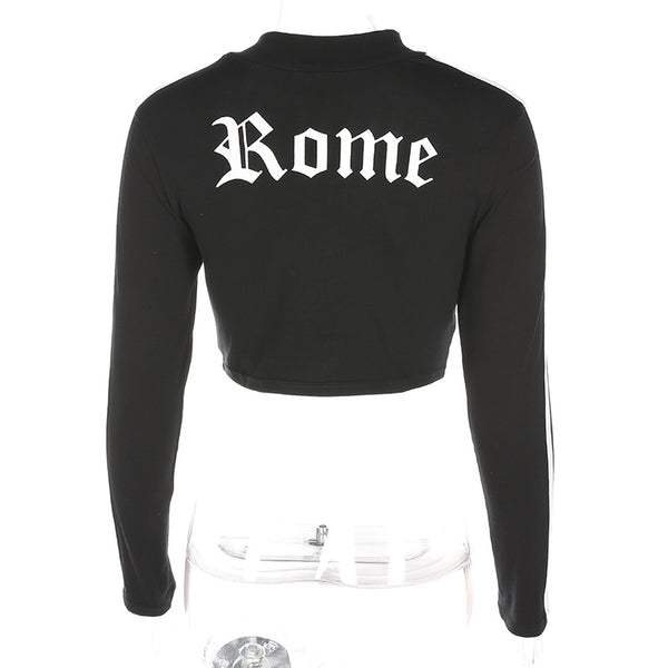 Fetoo Women Turtleneck Sexy Red Crop Tops Romeo Letter Printed Long Sleeve 2017 Autumn Tumblr Punk Cropped Sweatshirt Hoodies - thefashionique