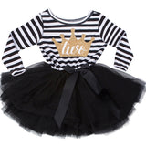 First Years Baby Girls Birthday Outfit Long Sleeve Striped Tutu Dresses For Babies Toddler litter Princess Christening Clothes - thefashionique