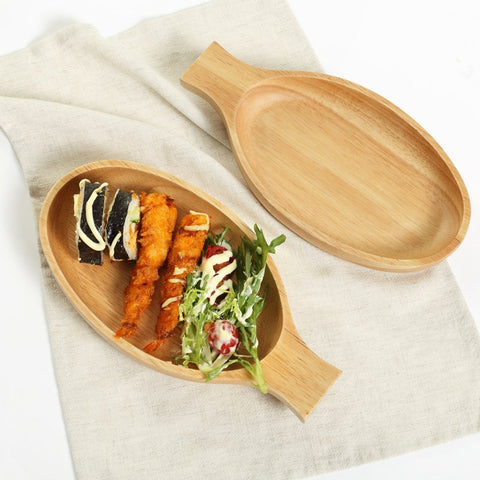 Fish Shaped Wooden Dinner Plates Handmade Craft Cute Fruits Dessert Dishes