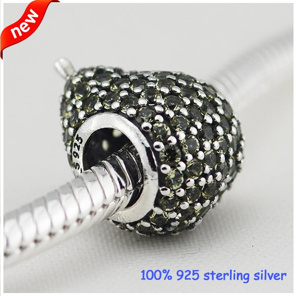 Fits Pandora Bracelets Pear Silver Beads with Light Green cubic zirconia Summer Style 925 Sterling Silver Charms DIY Wholesale - thefashionique