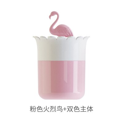 Flamingo Design Makeup organizer Cosmetic Storage Box with Lid Bathroom Cotton Swab Makeup Organizer Toothpick Holder Bottle - thefashionique