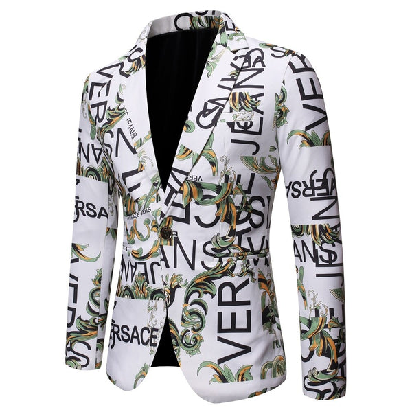 Floral Men Blazer New Brand Letter Printed Blazer Masculino Casual Slim Fit Business Formal Black Mens Suit Jacket Streetwear - thefashionique