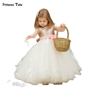 Flower Girl Dresses for Weddings Party Princess Gold Sequin Girls Tutu Dress Tulle Kids Pageant Ball Gown Dress Vestidos Custom