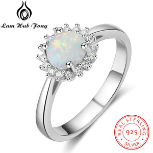 Flower Round White Fire Opal Rings for Women Real 925 Sterling Silver Wedding Engagement Ring Zircon Jewelry (Lam Hub Fong) - thefashionique