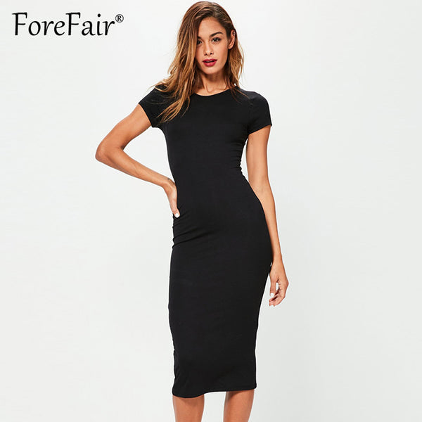 Forefair 2018 Summer Brief Casual Basic Dress Women Short Sleeve O Neck Classic All-Match Slim Midi Party Bodycon Dresses - thefashionique