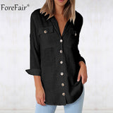 Forefair Pocket Casual Shirt Women Long Sleeve Summer Autumn Button Up Loose Tops Office Ladies White Blouse - thefashionique