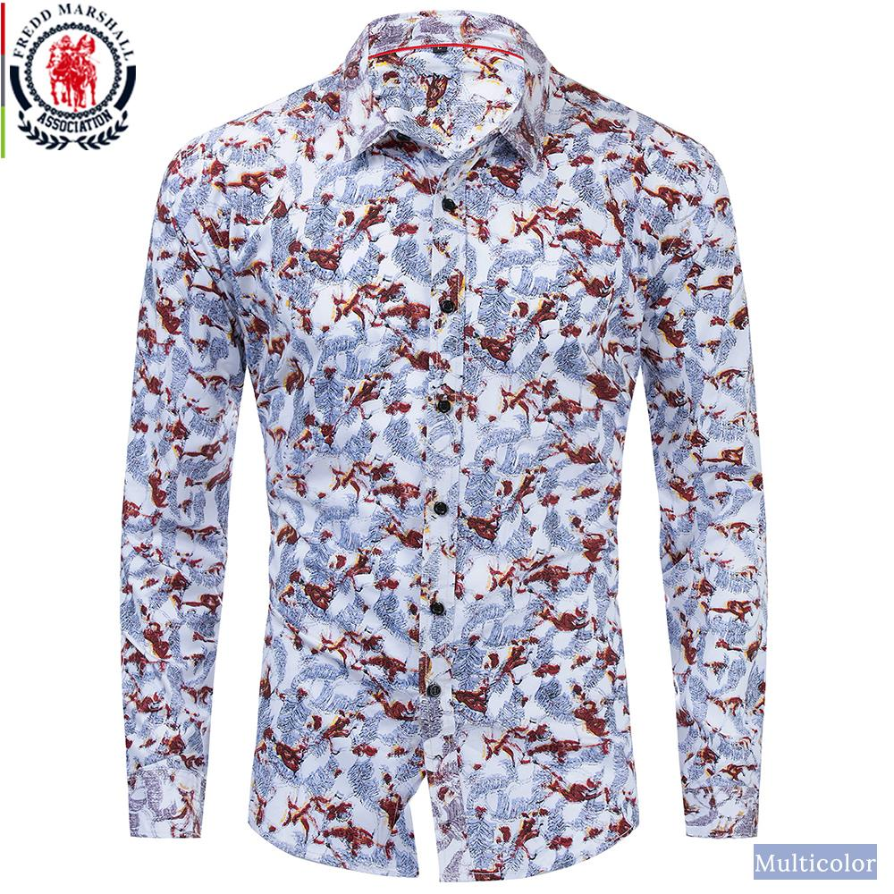 FREDD MARSHALL Mens Flower Printing Pattern Button Down Casual Dress Shirt with Pocket